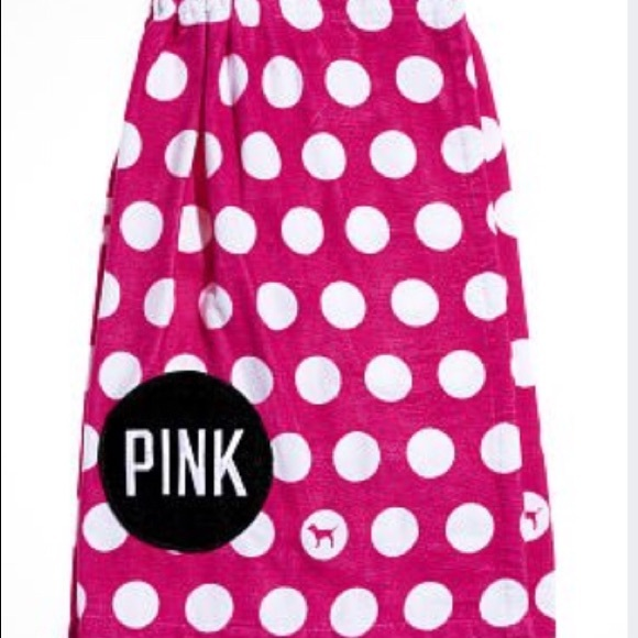 COPY - NEW! PINK POLKA DOT WRAP TOWEL